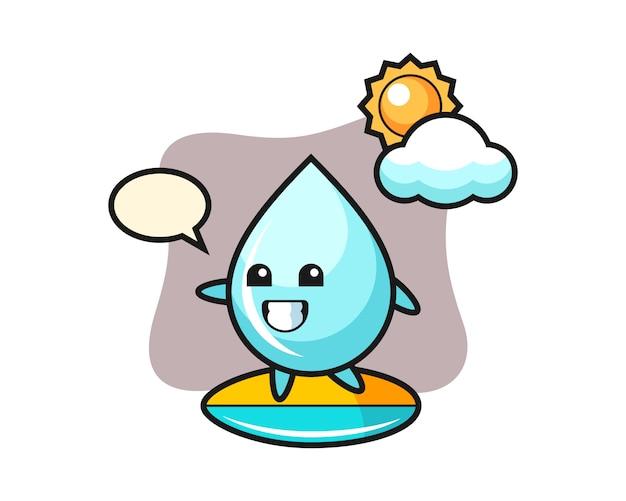 Ilustración de dibujos animados de gota de agua haciendo surf en la playa, diseño de estilo lindo para camiseta