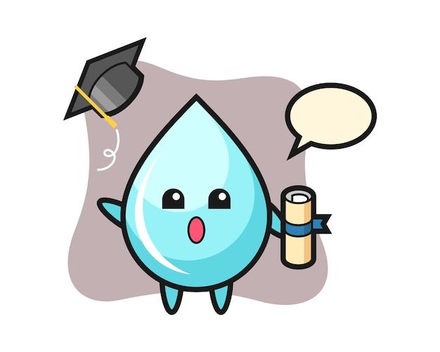Ilustración de dibujos animados de gota de agua tirando el sombrero en la graduación, diseño de estilo lindo para camiseta
