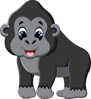 Ilustración de dibujos animados gracioso gorila