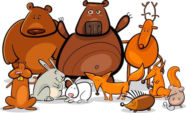 Ilustración de dibujos animados de grupo de animales del bosque salvaje