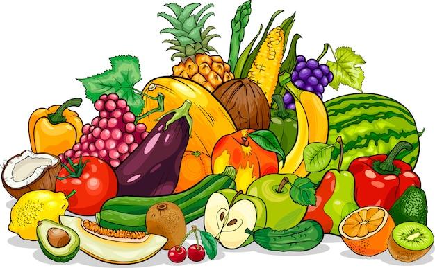 Ilustración de dibujos animados de grupo de frutas y verduras