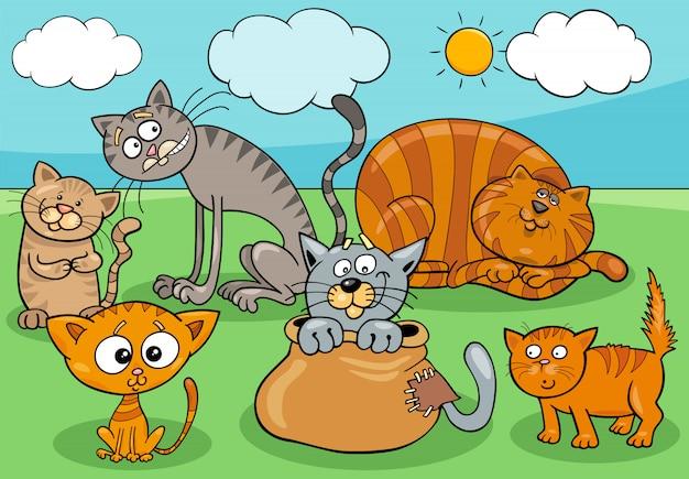 Ilustración de dibujos animados de grupo de gatos y gatitos