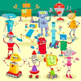 Ilustración de dibujos animados del grupo grande de robots