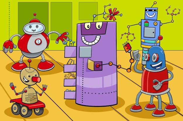 Ilustración de dibujos animados de grupo de personajes de robot cómico