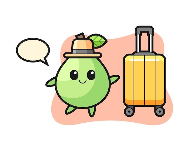 Ilustración de dibujos animados de guayaba con equipaje de vacaciones, diseño de estilo lindo para camiseta, pegatina, elemento de logotipo