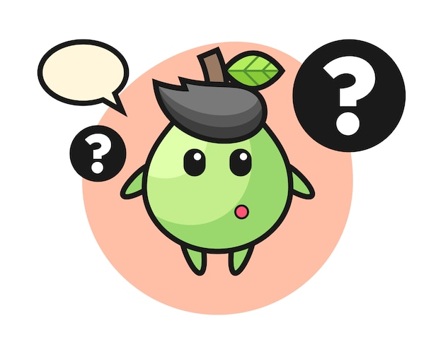 Ilustración de dibujos animados de guayaba con el signo de interrogación, estilo lindo para camiseta, pegatina, elemento de logotipo