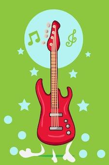 Ilustración de dibujos animados de guitarra baja