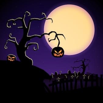 Ilustración de dibujos animados de halloween con árbol de miedo calabazas malvadas y cementerio