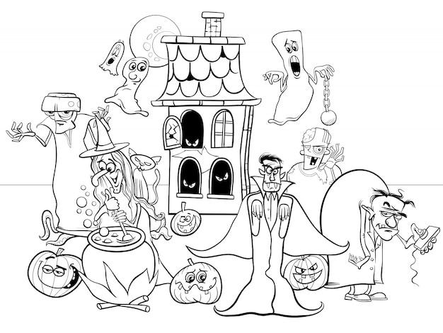 Ilustración de dibujos animados de halloween divertidos personajes para colorear libro