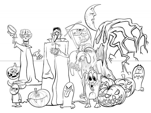 Ilustración de dibujos animados de halloween holiday scary characters libro de colorear