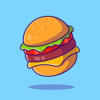 Ilustración de dibujos animados de hamburguesa con queso. estilo de dibujos animados plana