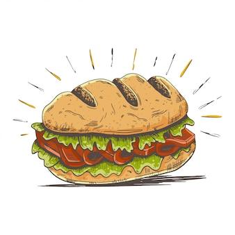 Ilustración de dibujos animados de hamburguesas sub
