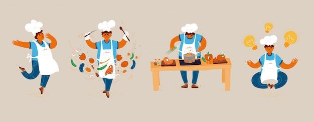 Ilustración de dibujos animados de hogar y restaurante pequeño hombre hombre cocinar conceptos. creación de ideas para cocinar, realización del proceso de cocción, chef hombre mostrando signos de delicioso, con gesto de aprobación de sabor.