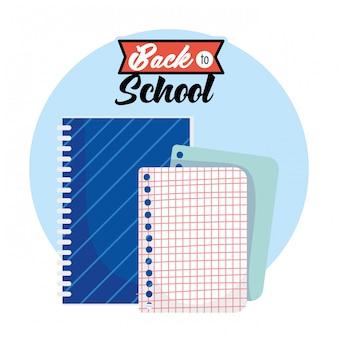 Ilustración de dibujos animados de hoja de cuadrícula de cuaderno y papel