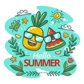Ilustración de dibujos animados hola verano