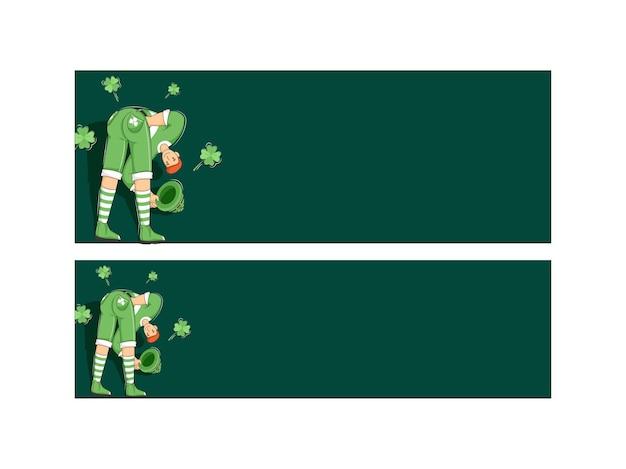 Ilustración de dibujos animados hombre duende con hojas de trébol y espacio para texto