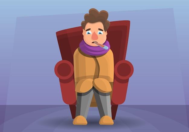 Ilustración de dibujos animados del hombre de la gripe en el sofá