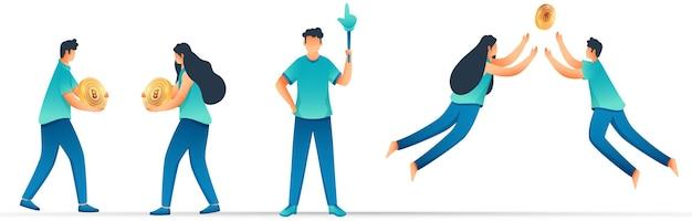 Ilustración de dibujos animados de hombres y mujeres sosteniendo bitcoin dorado 3d y puntero de mano