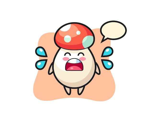 Ilustración de dibujos animados de hongos con gesto de llanto, diseño de estilo lindo para camiseta, pegatina, elemento de logotipo