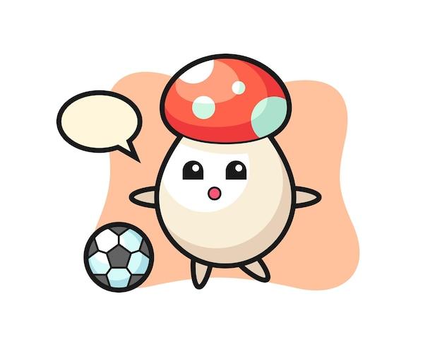 Ilustración de dibujos animados de hongos está jugando al fútbol, diseño de estilo lindo para camiseta, pegatina, elemento de logotipo