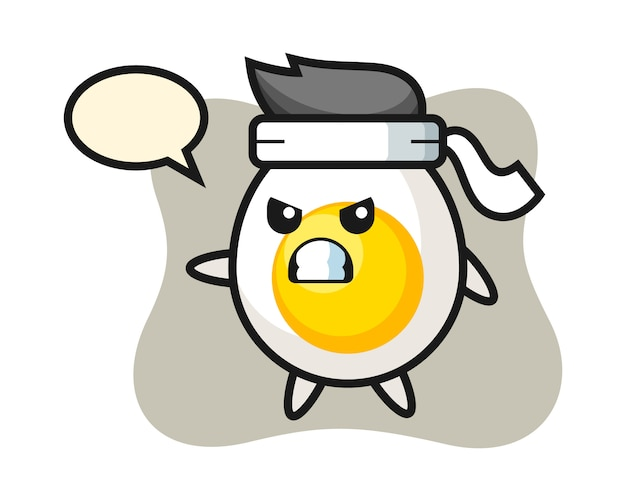Ilustración de dibujos animados de huevo cocido como un luchador de karate