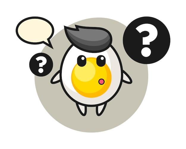 Ilustración de dibujos animados de huevo cocido con el signo de interrogación