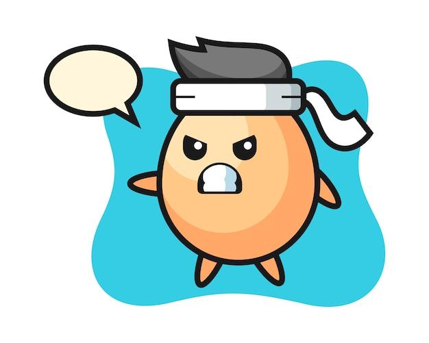 Ilustración de dibujos animados de huevo como luchador de karate, diseño de estilo lindo para camiseta, pegatina, elemento de logotipo