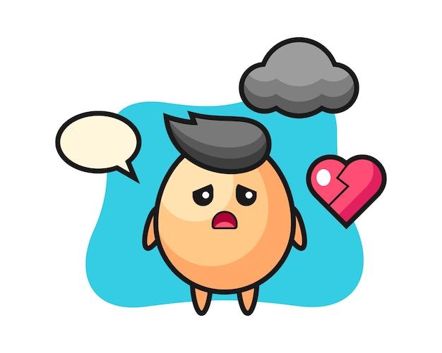 Ilustración de dibujos animados de huevo es corazón roto, diseño de estilo lindo para camiseta, pegatina, elemento de logotipo