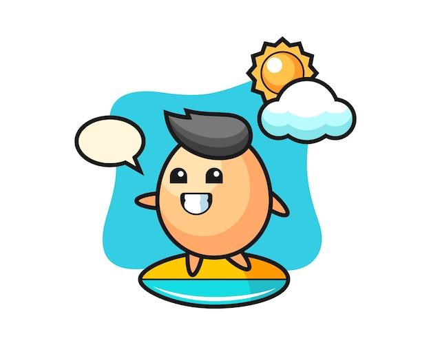 Ilustración de dibujos animados de huevo hacer surf en la playa, diseño de estilo lindo para camiseta, pegatina, elemento de logotipo