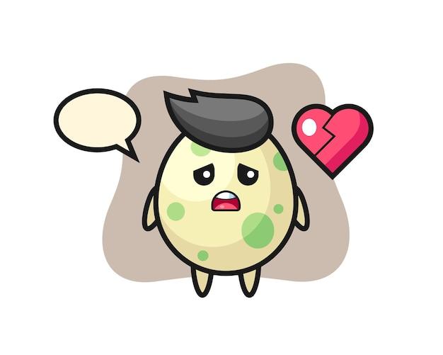 La ilustración de dibujos animados de huevo manchado es corazón roto, diseño de estilo lindo para camiseta, pegatina, elemento de logotipo