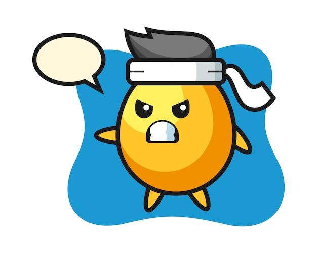 Ilustración de dibujos animados de huevo de oro como luchador de karate, diseño de estilo lindo