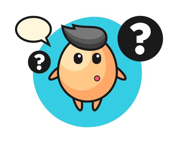 Ilustración de dibujos animados de huevo con el signo de interrogación, estilo lindo para camiseta, pegatina, elemento de logotipo