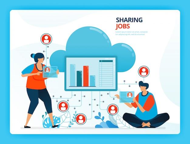 Ilustración de dibujos animados humanos para compartir trabajos y servicio de red en la nube.