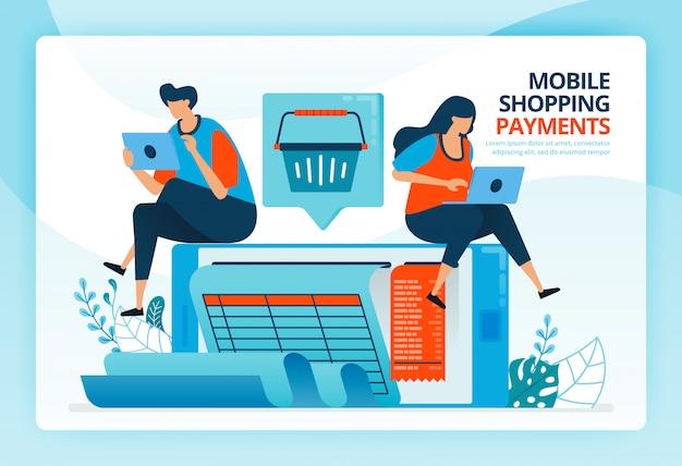 Ilustración de dibujos animados humanos para pago móvil y facturas de compras.