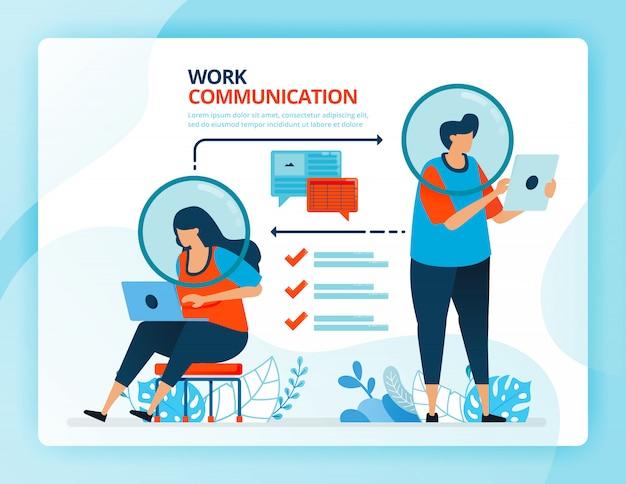 Ilustración de dibujos animados humanos para perfil de empleado para la eficiencia de la comunicación.
