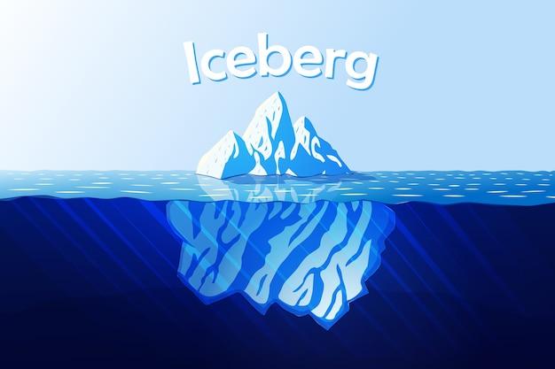 Ilustración de dibujos animados con iceberg en los rayos del sol y el océano.