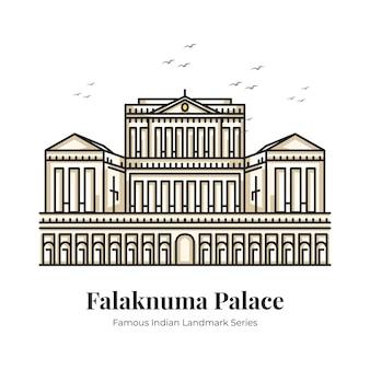 Ilustración de dibujos animados icónicos del hito indio del palacio falaknuma