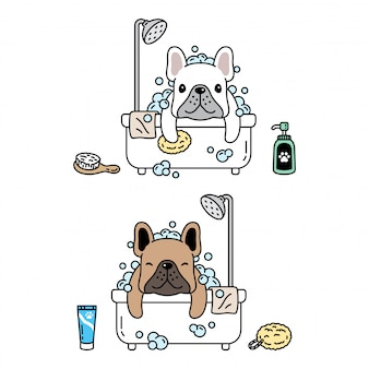 Ilustración de dibujos animados de icono de baño de ducha de bulldog francés de personaje de perro