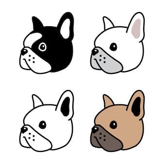 Ilustración de dibujos animados de icono de cara de cabeza de bulldog francés de personaje de perro