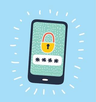 Ilustración de dibujos animados del icono del concepto de seguridad de internet
