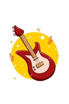 Ilustración de dibujos animados de icono de música de bajo de guitarra