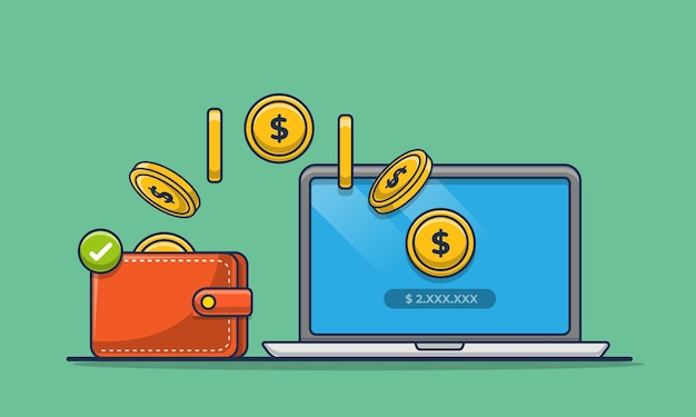 Ilustración de dibujos animados de icono de transacción en línea