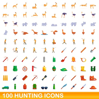 Ilustración de dibujos animados de iconos de caza conjunto aislado sobre fondo blanco.