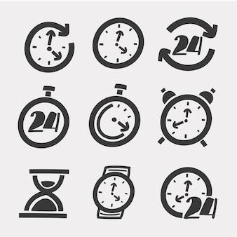 Ilustración de dibujos animados de iconos de tiempo y reloj sobre fondo blanco.