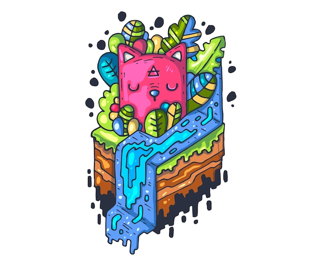 Ilustración de dibujos animados para impresión y web