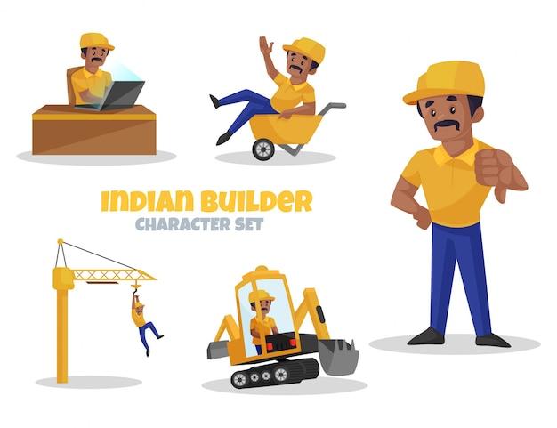 Ilustración de dibujos animados de indian builder character set