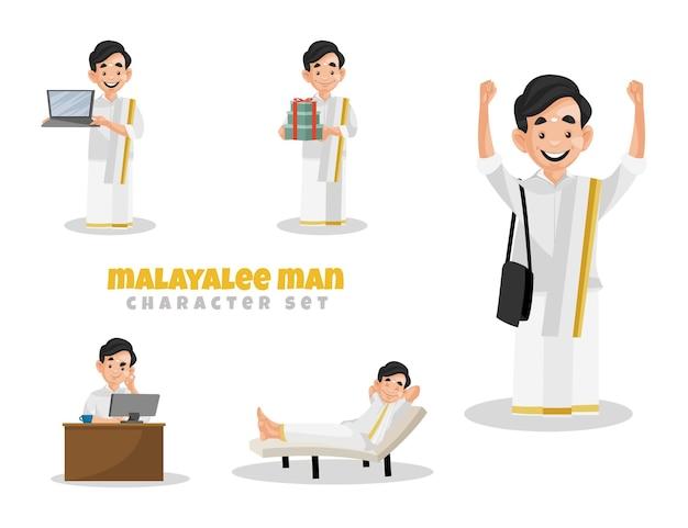 Ilustración de dibujos animados de indio malayalee man character set