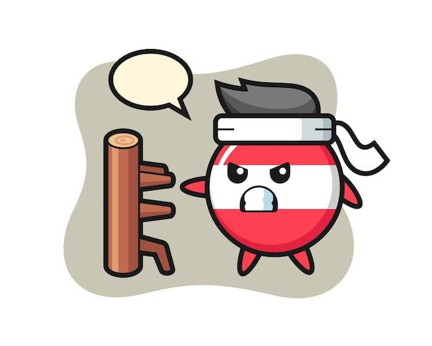 Ilustración de dibujos animados de insignia de bandera de austria como un luchador de karate