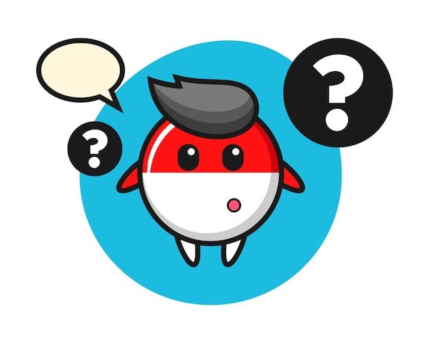 Ilustración de dibujos animados de la insignia de la bandera de indonesia con el signo de interrogación
