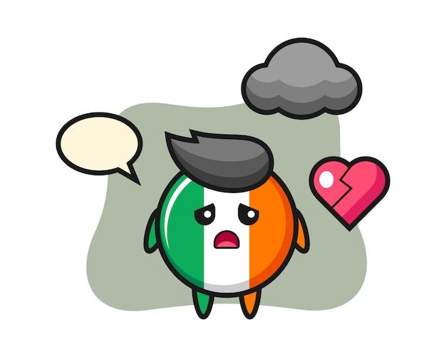La ilustración de dibujos animados de la insignia de la bandera de irlanda es corazón roto